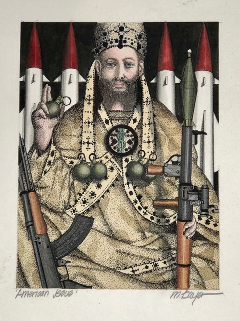 Michael Dwyer, 'American Jesus', 2020, Drawing, Collage or other Work on Paper, Mixed Media on Paper, M.A. Doran Gallery