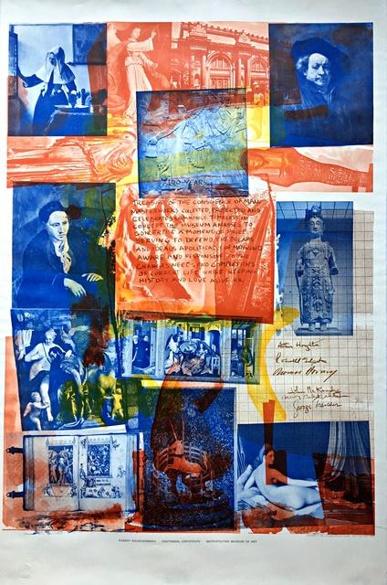 Robert Rauschenberg, 'Centennial Certificate (Hand Signed)', 1970, Alpha 137 Gallery