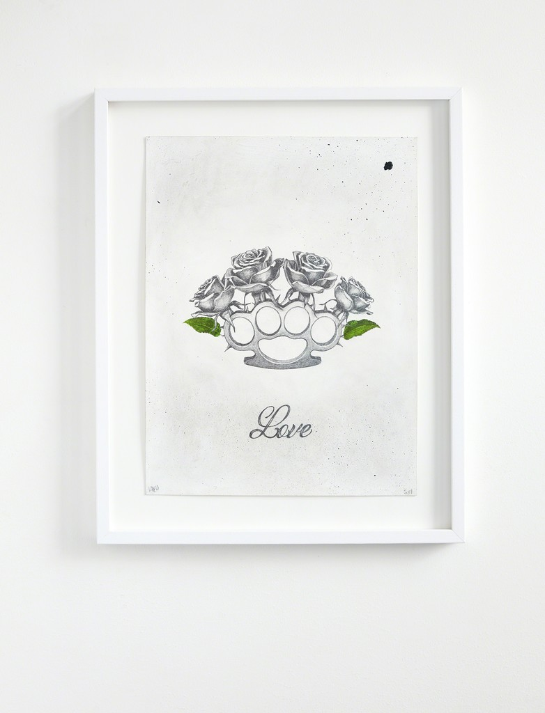 Ludo, 'The Ten Commitments' installation view at The Garage, Amsterdam. 'Love', original, 2017, pencil & oil paint on 300gsm Arches Paper, 51.5 x 41.5 cm framed