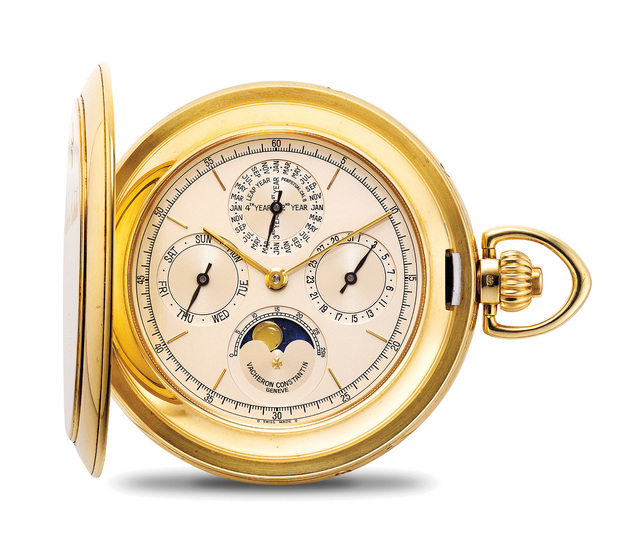 Vacheron & Constantin, 'A very fine and heavy yellow gold perpetual calendar hunter case pocket watch with moon phases, with international warranty and setting pin', 1998, Phillips