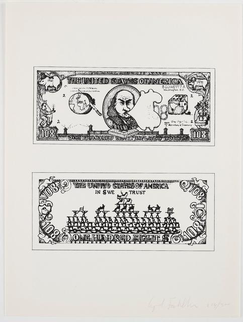 Öyvind Fahlström, '$108 Bill', 1973, Print, Screenprint in colours, Forum Auctions