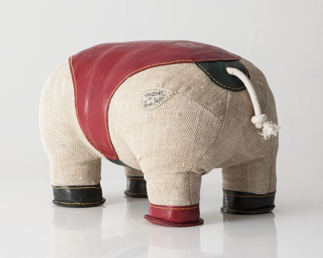 ", 'Double-tail ""Therapeutic Toy"" Hippopotamus in jute with red and green leather detailing.,' 2013, R & Company"