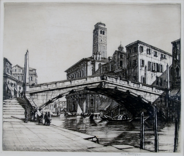 Henry Rushbury, 'Bridge in Castello, Venice', ca. 1927, Private Collection, NY