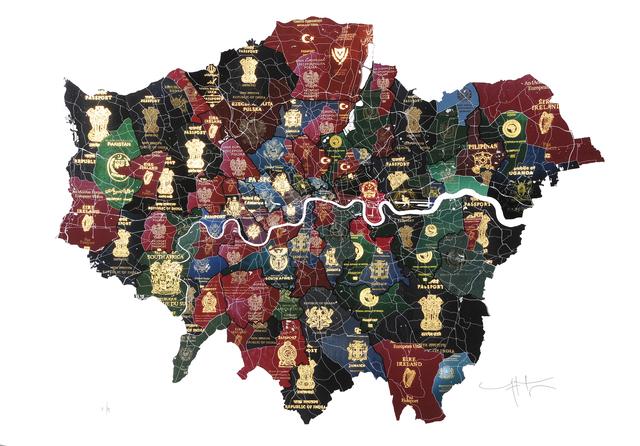 , ' London Passport Map,' 2016, London Contemporary Art / Store Street Gallery
