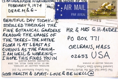 "Letter from Australia to the artist's parents (""I am doing a piece...the length of the Great Hall"")"