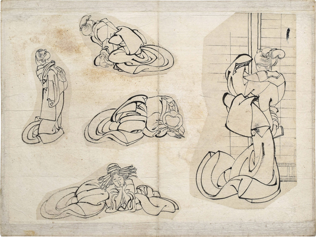 Katsushika Hokusai, 'sketches of women', ca. 1820s-30s, Scholten Japanese Art