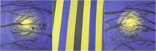 , 'Triptych (Moon, Stripe, Moon, Lemon Yellow Purple Sky), 2015,' 2015, Nina Johnson