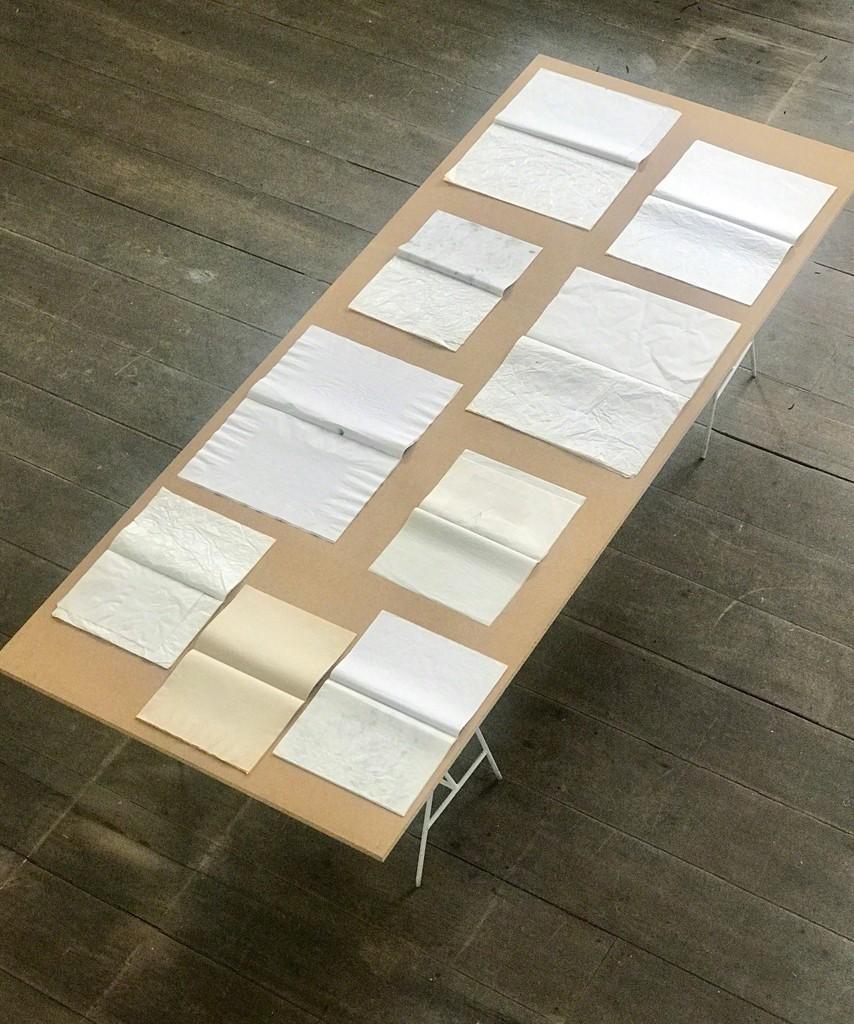 Daquilo que não se vê, 2016 9 books on wood table 270 x 111 cm