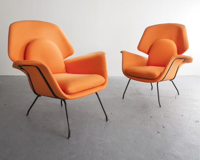 , 'Pair of orange upholstered armchairs with iron frames,' ca. 1950, R & Company