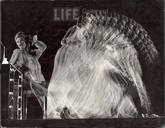 Gjon Mili, 'Stroboscopic of Model Clad in Girdle, Bra, Stockings and Negligee Seated at Dressing Table and Moving to Pick Up Slippers', 1945, Contessa Gallery