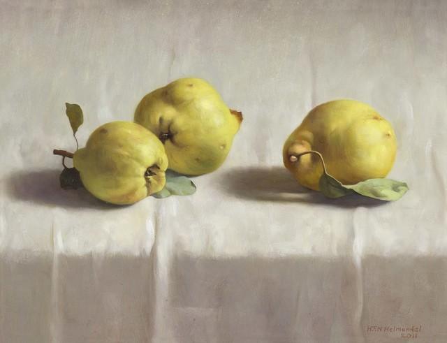 , 'Three quinces on a white cloth,' 2011, Artvera's Art Gallery