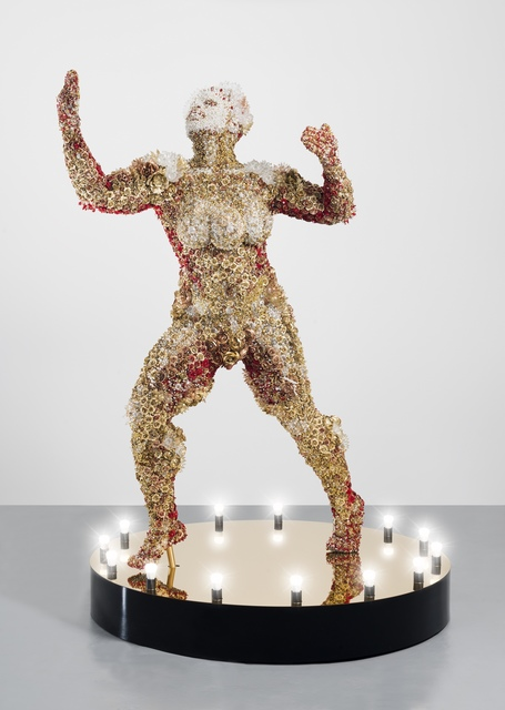 Athi-Patra Ruga, 'Proposed Model of Francois Benga (1906 - 1967)', 2018, Sculpture, Sculpture: High density foam, artificial flowers and jewels Plinth: Perspex, lighbulbs, WHATIFTHEWORLD