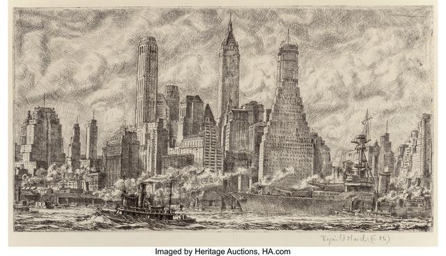 Reginald Marsh, 'Skyline from Pier 10 Brooklyn', 1931, Heritage Auctions