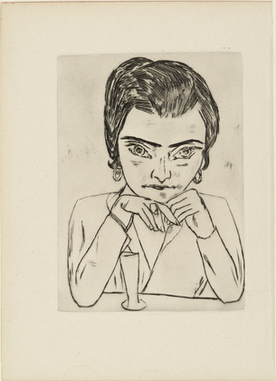Max Beckmann, 'Portrait of Naila leaning on her arms, with glass', 1924, Artsnap