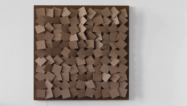 , '121 prepared dc-motors, cardboard elements 8x8cm,' 2011, Galerie SOON