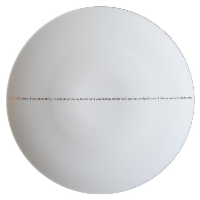 Sophie Calle, 'The Pig (set of 6 dinner plates)', 2013, Design/Decorative Art, Set of 6 different porcelain plates with platinum text, Artware Editions