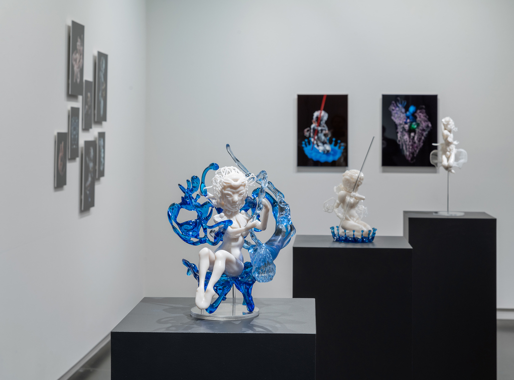 Works by Pinar Yoldas in Absence of Myth. Photo by Mario Gallucci.