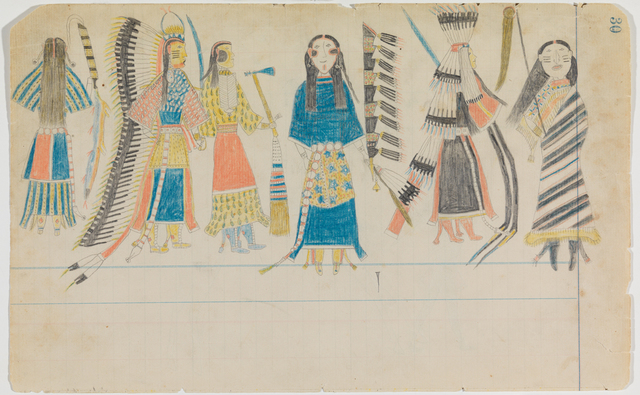 ", 'Ledger Drawing ""Scalp Dance"",' ca. 1880, Donald Ellis Gallery"