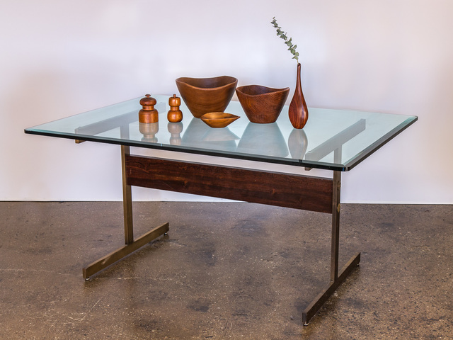 , 'Glass Table on Brass Pedestal Base,' ca. 1960, Open Air Modern