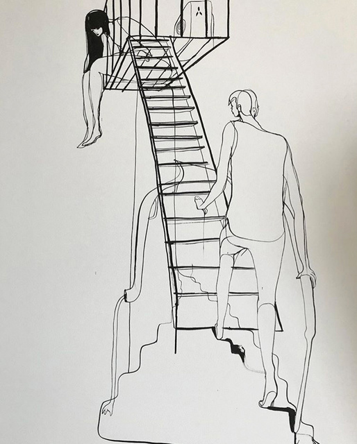 Will Barras, 'Fire Escape', 2020, Painting, Ink on Canvas, StolenSpace Gallery