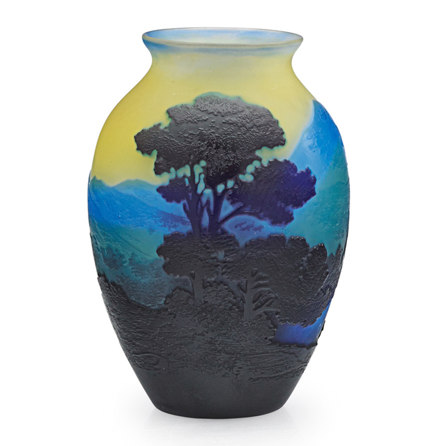 Galle, 'Small Vase With Mountainous Landscape, France', Early 20th C., Design/Decorative Art, Acid-Etched Cameo Glass, Rago/Wright