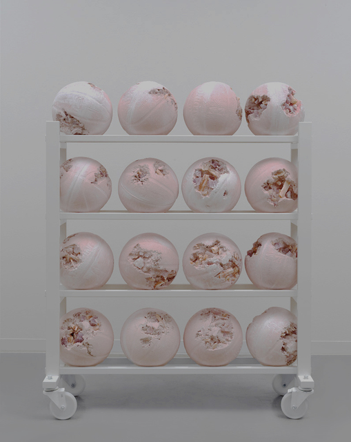 , 'Pink Selenite Eroded Basketball Rack,' 2019, Galerie Ron Mandos