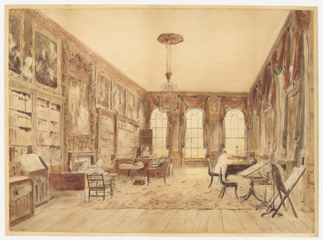 Augustus Charles Pugin, 'The Interior of the Library at Cassiobury', Before 1816, Cooper Hewitt, Smithsonian Design Museum