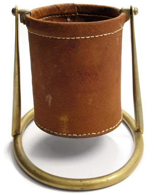 Carl Auböck, 'Bottle Holder', ca. 1950s, Design/Decorative Art, Brass, Stitched Leather, Patrick Parrish Gallery