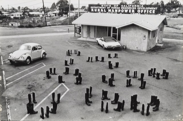 , '100 Boots Looking for a Job, San Clemente, California,' 1972, Richard Saltoun