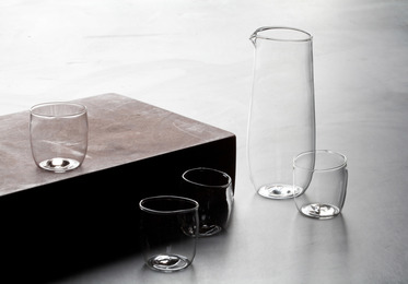 Malfatti Glass Sake Set Perlina and Decanter Perlina, with Bottle of Kubota Senshin Sake