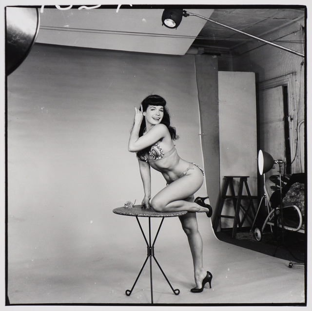 , 'Bettie Page (on three-legged table),' ca. 1955/1980s, Corbett vs. Dempsey