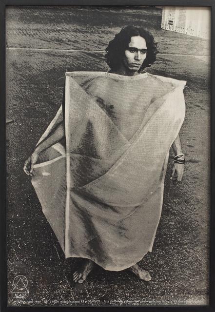 """, 'Luiz Fernando Guimarães veste Parangolé P 30, Capa 23 - """"m'way ke"""", dedicated to Haroldo de Campos, 1965-1972.,' 1972, Cosmocosa"""