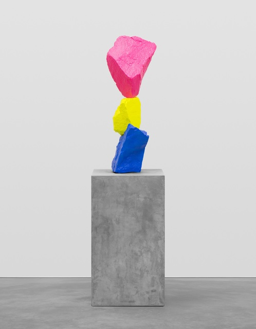 Ugo Rondinone, 'Blue yellow pink mountain', 2015, Sculpture, Painted stone, steel, pedestal, Swiss Institute Benefit Auction