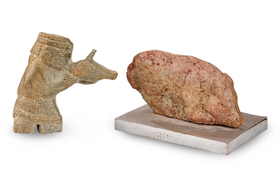 Two Artworks: Musician and Pig, Carved Stone