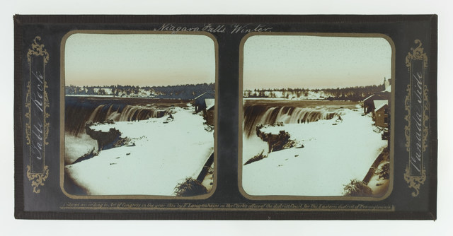 Frederick and William Langenheim, 'Winter, Niagara Falls, Table Rock, Canada Side', 1855, Photography, Glass stereoscopic transparency, black tape, brush and white and gold paint, Cooper Hewitt, Smithsonian Design Museum