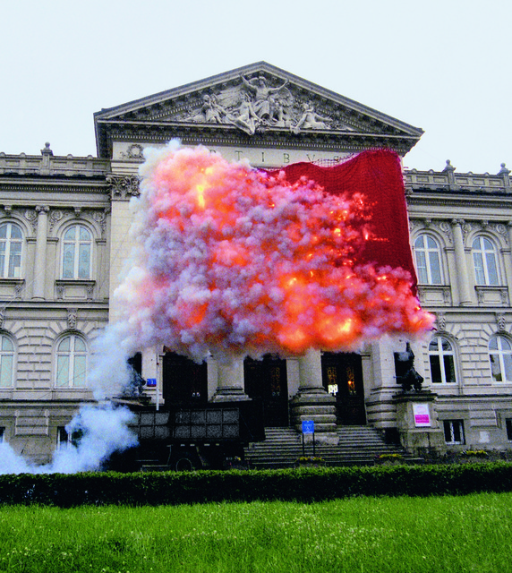 Cai Guoqiang 蔡国强, 'Red Flag', 2005, Other, Gunpowder fuse and red flag, Cai Studio