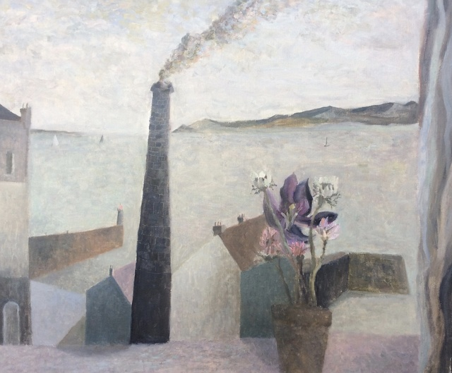 , 'Harbour with Flowers and Chimney,' 2015, Jenna Burlingham Fine Art