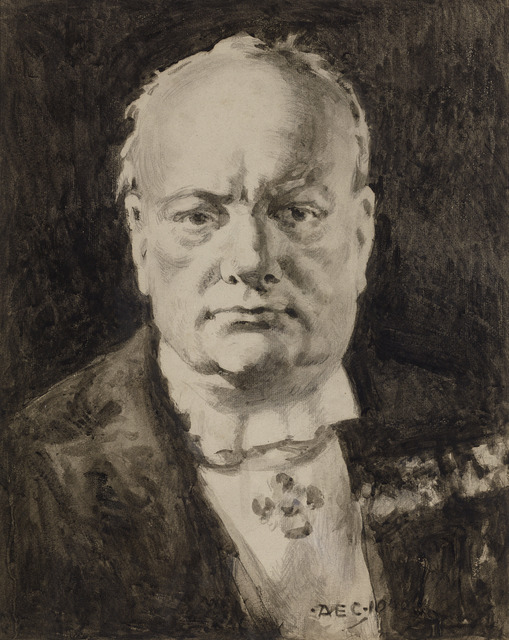 Alfred Egerton Cooper, 'Portrait of Winston Churchill', 1945, Drawing, Collage or other Work on Paper, Pencil and grisaille wash on paper,  M.S. Rau