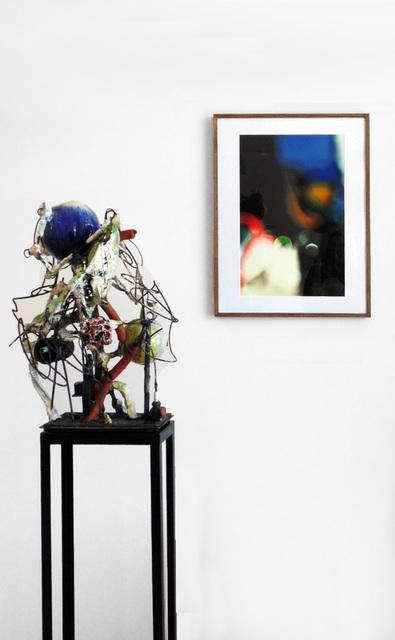 Raymon Elozua, 'H:IMF-01 & 01 Blur S&S', sculpture: 2016; photo: 2010, Sculpture, Sculpture: terra cotta, white stoneware, glaze, steel rod, steel plate; photo: archival inkjet print, Ferrin Contemporary