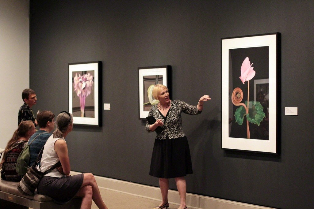 "Gallery talk in front of Amy Lamb's ""Cyclamen IV"", 2003; Digital pigment print of photography; Courtesy of Steven Scott Gallery, Baltimore; Photography by Laura Hoffman"