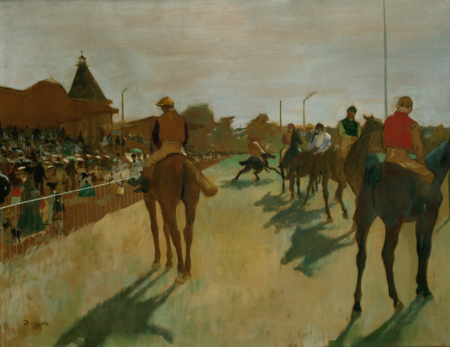 Edgar Degas, 'Le défilé', 1866-1888, Painting, Oil on paper mounted on canvas, Erich Lessing Culture and Fine Arts Archive