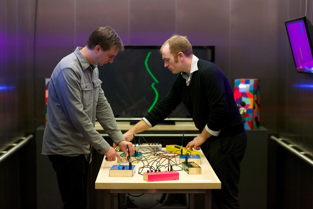 Artists Owen Osborn and Chris Kucinski in their interactive installation, Elevator Music 30: Critter & Guitari, Tang Teaching Museum, 2016