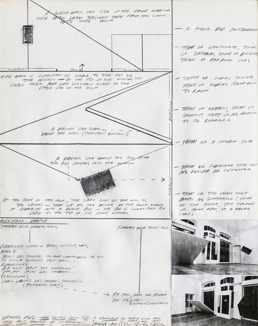 "Vito Acconci, 'Drawing for ""The cuckoo Show"" or: A language of their own for the poor people of Switzerland', 1977, Martini Studio d'Arte"