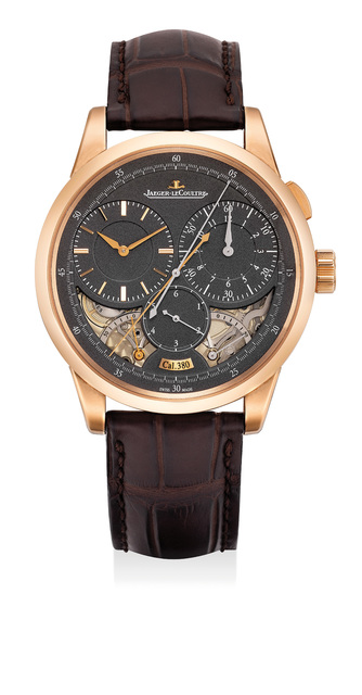 Jaeger LeCoultre, 'A very fine and attractive pink gold single-button chronograph wristwatch with dual power reserves and jumping seconds, with presentation box and guarantee certificate', 2016, Phillips