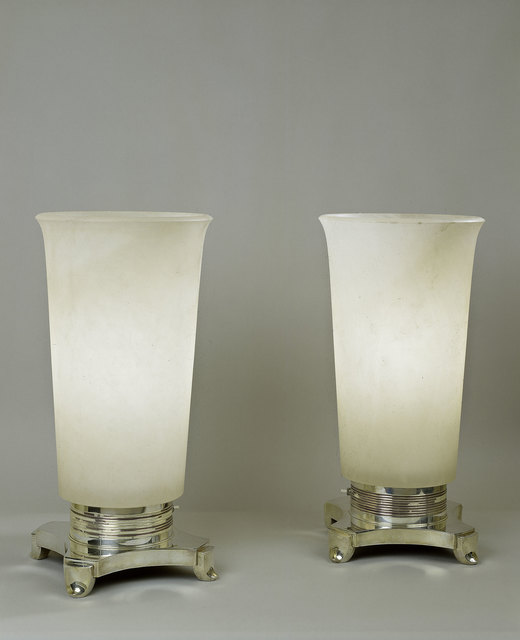 , 'Pair of alabaster and bronze lamps,' ca. 1928, Vallois SAS