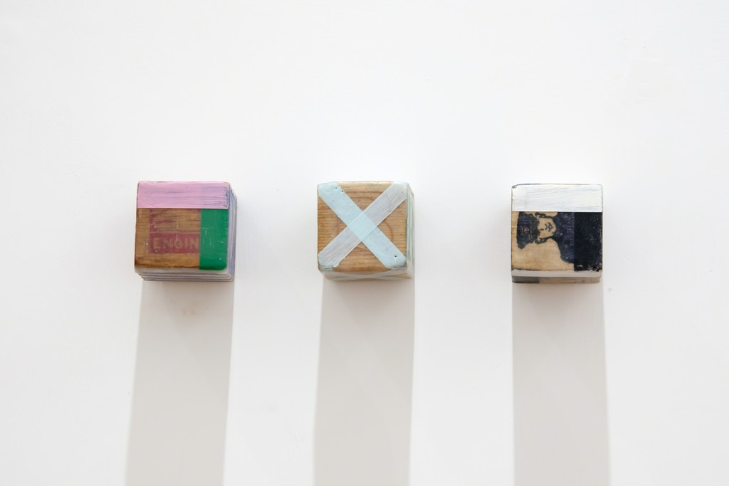 Stuart Arends, Kid Block (#11,#29,#5), 2015, found object, wax, oil painting, 5x5x5cm each