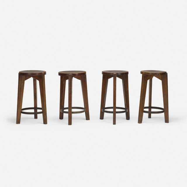 Pierre Jeanneret, 'Set of Four Stools from Punjab University, Chandigarh', c. 1965, Wright
