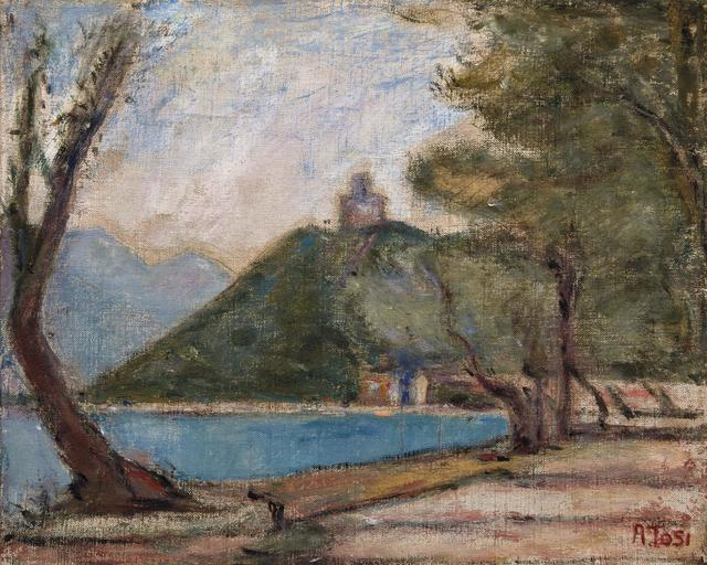 Arturo Tosi, 'Lake Iseo', executed in 1932, Painting, Oil on canvas, Pandolfini