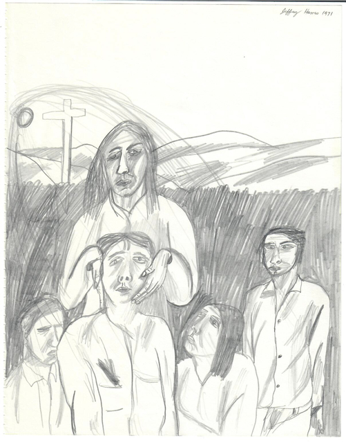 , 'Five Figures with Cross,' 1971, {Suite}