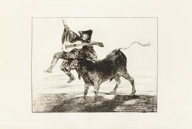 A group of 3 prints including Tan bárbara la Seguridad come el Delito ('The Little Prisoner'), c. 1820; Dios se lo pague a usted ('Blind Man tossed on the Horns of a Bull'), c. 1800-1808; and Al Toro y al Aire Darles Calle (Lluvia de Toros) c. 1824